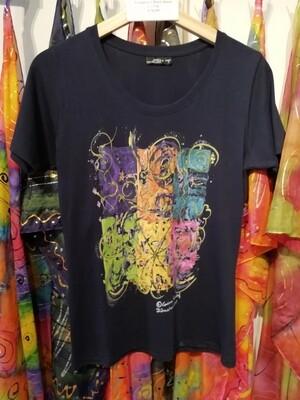 "T-Shirt for women in dark navy with short sleeve S - 5 XL - Design ""The Vignette"""