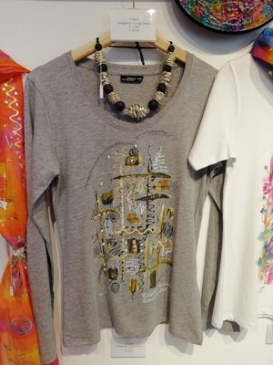 """T-Shirt for women in grey-heather with long sleeve S - 3 XL - Design """"The Wachau Valley"""""""