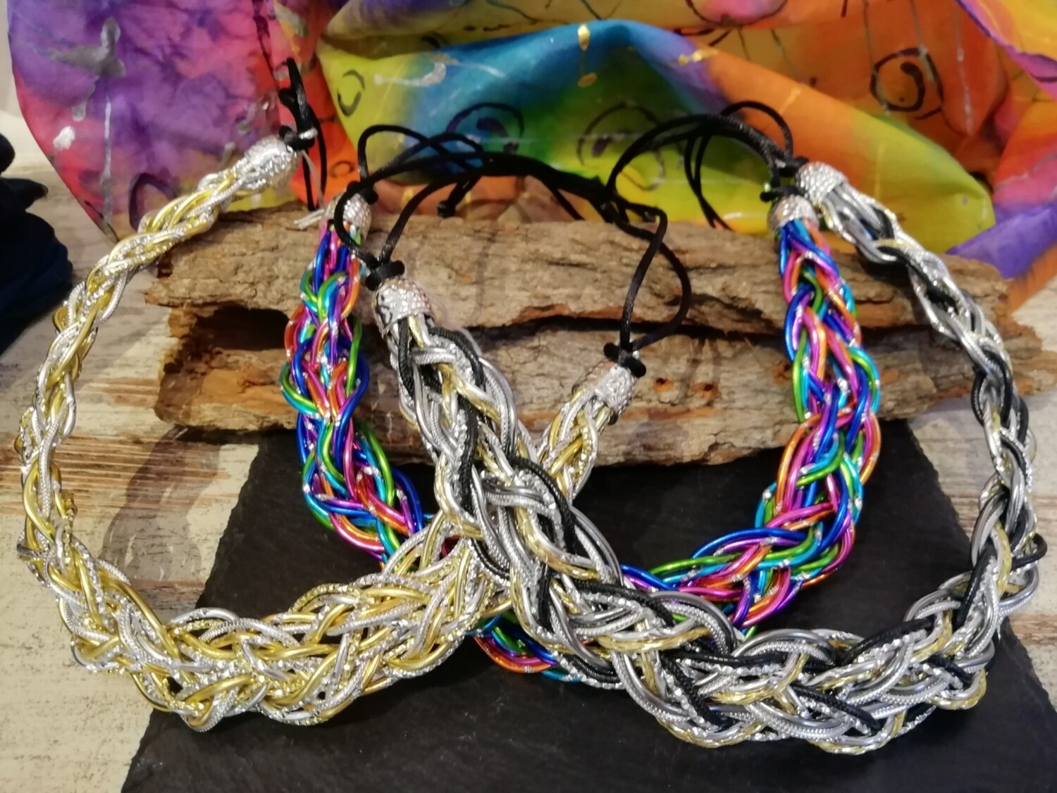 """Necklaces """"Strong"""" silver / gold / black / multicolor - Handmade  by Corinna Kirchhof"""