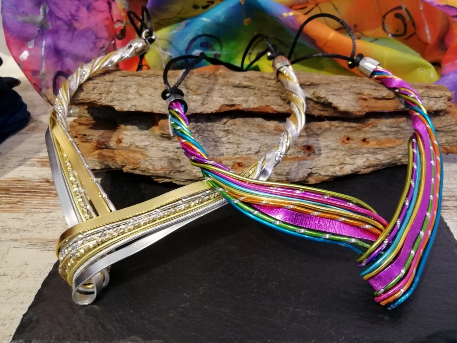 "Necklaces ""The Wave"" silver and gold or multicolor - Handmade  by Corinna Kirchhof"
