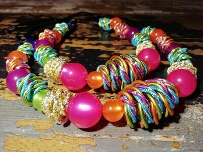 Necklace with pearls and different colors - Handmade  by Corinna Kirchhof No. 95