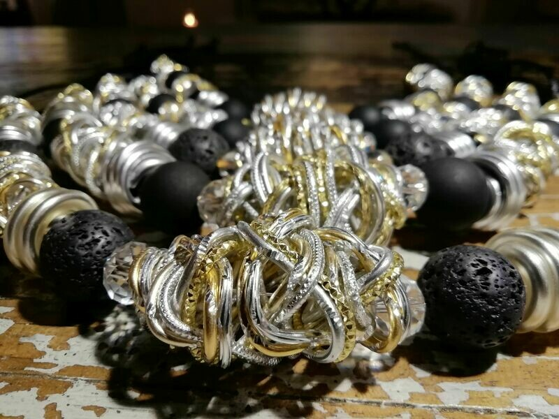 Necklaces with pearls in black or lava pearls - Handmade  by Corinna Kirchhof No. 95