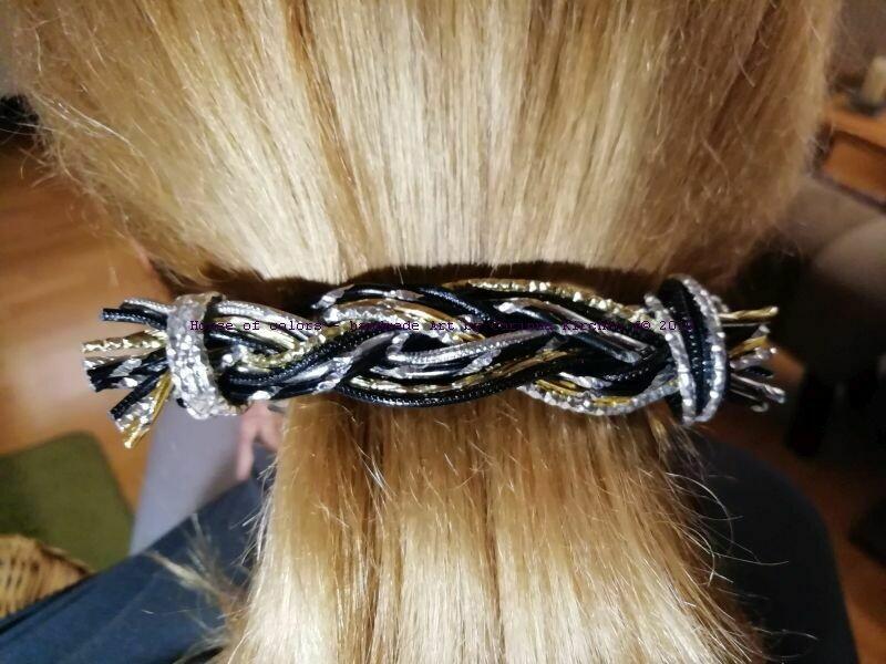 Hairclips silver / gold / black Freestyle big - Handmade by Corinna Kirchhof