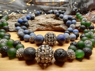Necklaces - made with natural Lapis or Opal Stones /Pearls - Handmade  by Corinna Kirchhof