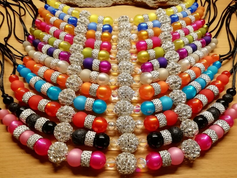 Necklaces with pearls in different colors mixed with Glass Beads - Summer Edition - Handmade  by Corinna Kirchhof