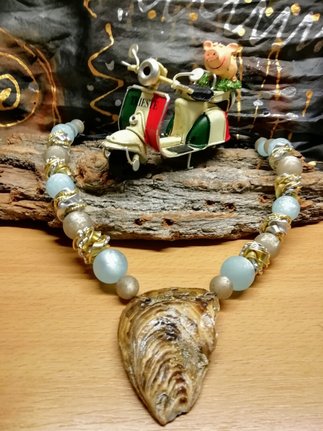 Natural Necklaces with Seashell from the Adriatic Sea Friuli Venezia Giulia - Handmade  by Corinna Kirchhof - Light blue Polaris and soft Grey Polaris or clear crystal Pearls