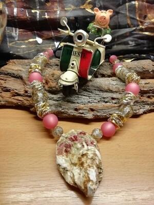 Natural Necklaces with Seashell from the Adriatic Sea Friuli Venezia Giulia - Handmade  by Corinna Kirchhof - Soft coral Polaris