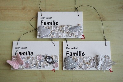 Holzschild mit Familienname (personalisierbar)