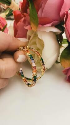 Orecchini Coppia maxicerchi Rainbow finitura oro