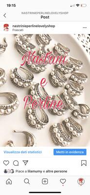 Orecchino Earcuff multifilo perle finitura argento