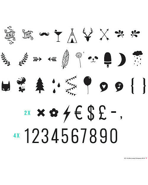 Kit aggiuntivo e accessori per lightbox - 85 Numeri e simboli