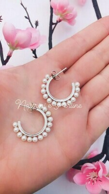 Orecchini Coppia cerchi argento 925 con perle