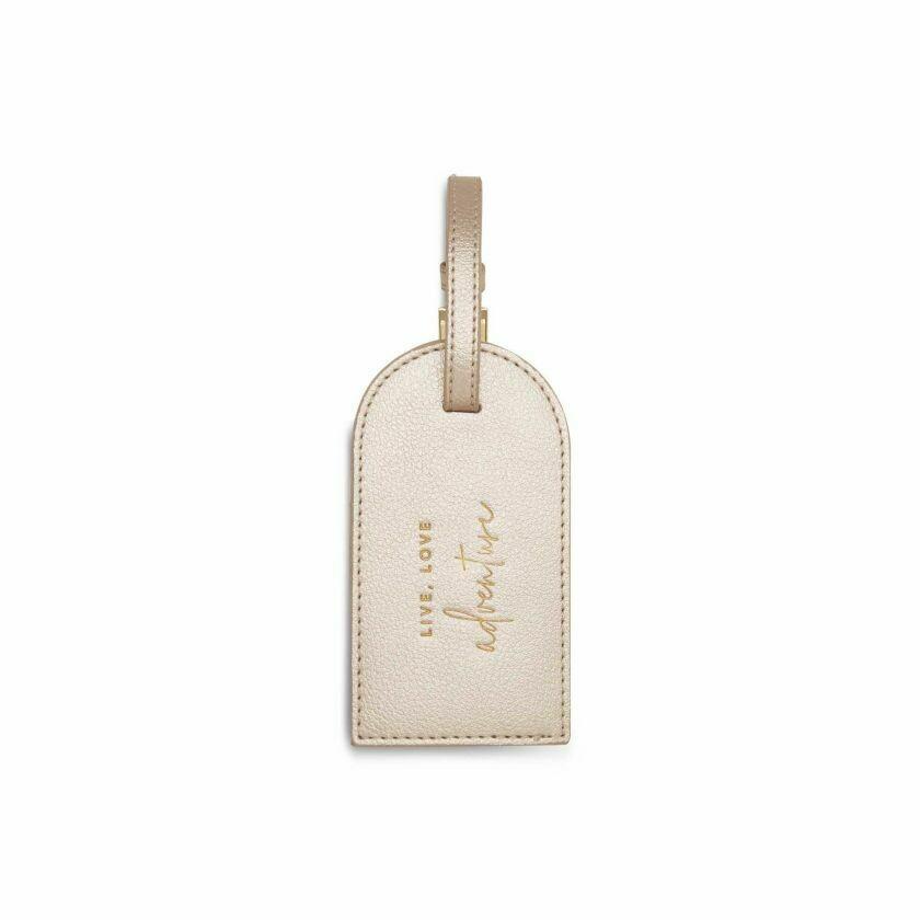 Etichetta bagaglio Luggage Tag champagne dorato Live Love Adventure - Katie Loxton 695