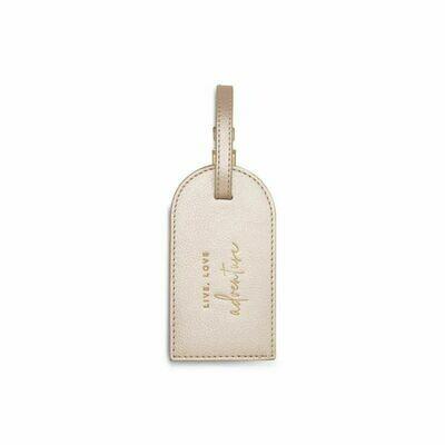 Etichetta bagaglio Luggage Tag champagne dorato Live Love Adventure - Katie Loxton
