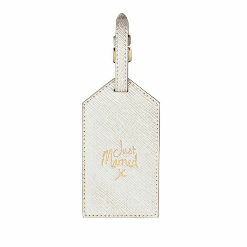 Etichetta bagaglio Luggage Tag bianco perlescente Just Married - Katie Loxton