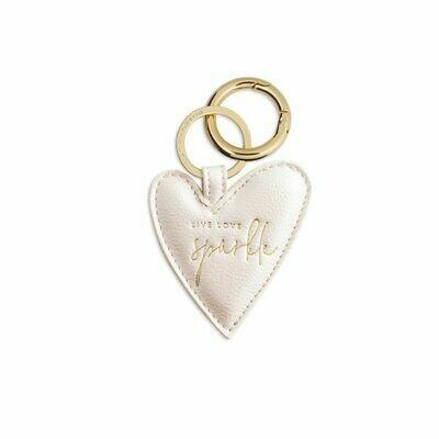 Portachiavi cuore  Bianco metallico Live Love Sparkle - Katie Loxton