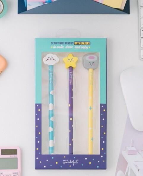 Set di 3 matite con gomme sagomate