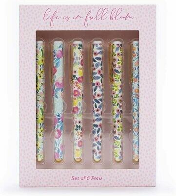 Confezione regalo 6 Penne a Sfera ad Inchiostro Nero - Floral Graphics