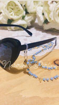 Catenella per occhiali e collana mod. Cuori celeste