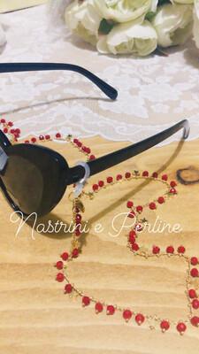 Catenella per occhiali e collana con stelline rosso