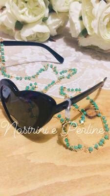 Catenella per occhiali e collana con stelline verde