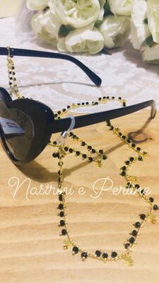 Catenella per occhiali e collana con stelline nero
