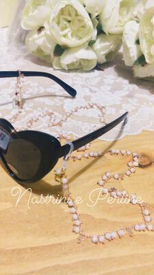 Catenella per occhiali e collana con stelline rosa