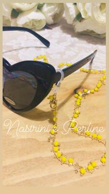 Catenella per occhiali e collana con stelline giallo