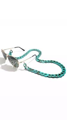 Catenella per occhiali e collana in acrilico verde