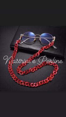 Catenella per occhiali e collana in acrilico rosso