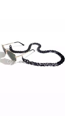 Catenella per occhiali e collana in acrilico nero