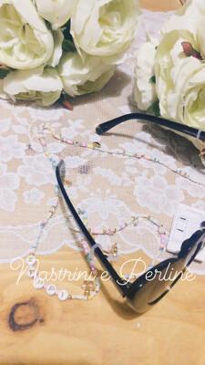 Catenella per occhiali e collana mod. Coachella multicolor chiaro