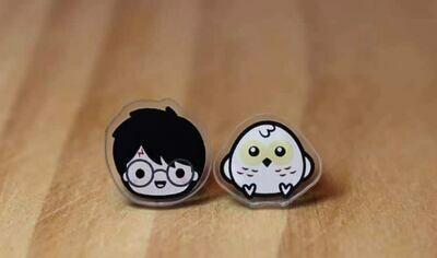 Coppia orecchini Harry Potter e Edvige