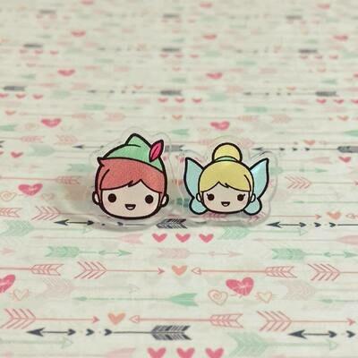 Coppia orecchini Peter Pan e Trilly