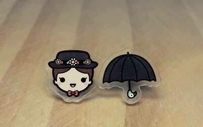 Coppia orecchini Mary Poppins e ombrello