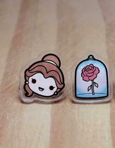 Coppia orecchini  La bella e la Bestia - Belle e la rosa