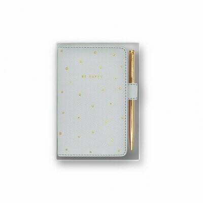 Confezione quadernino grigio e penna Be Happy Katie Loxton 097