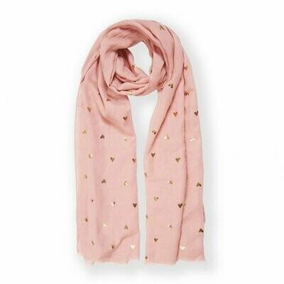 Sciarpina rosa con cuoricini metallici Katie Loxton 327