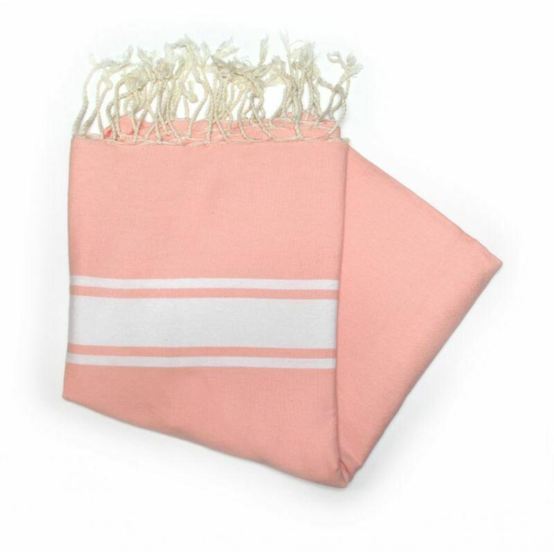 Telo fouta rosa  banda bianca