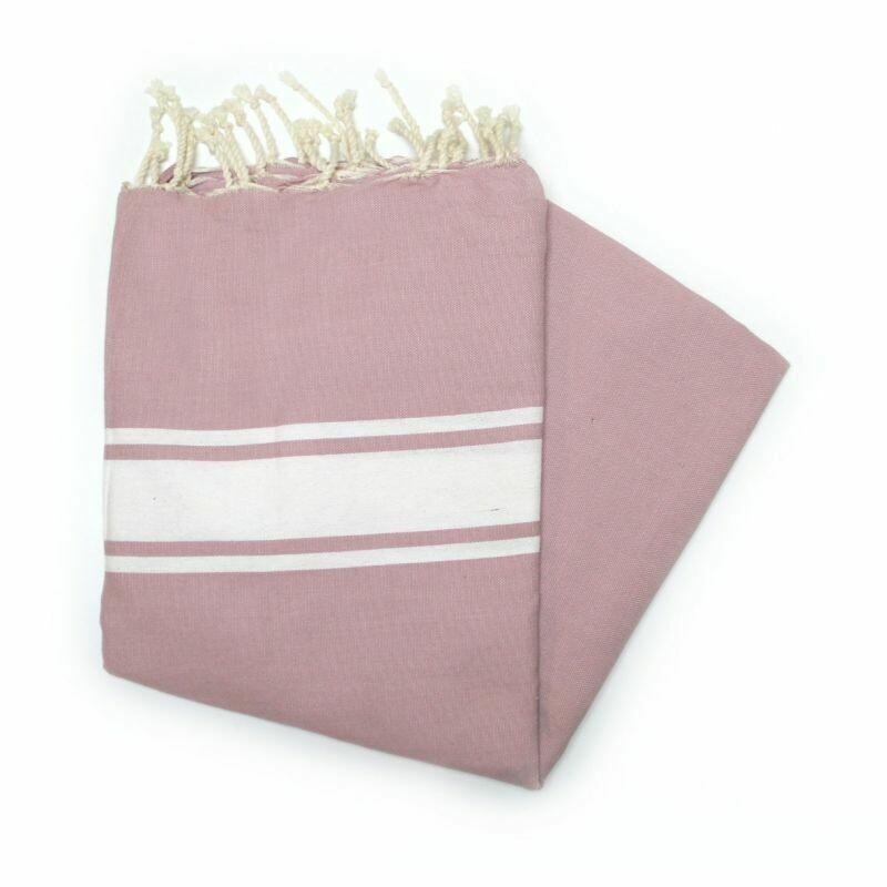 Telo fouta rosa fard  banda bianca