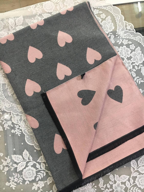 Sciarpa Cuori grigio e rosa