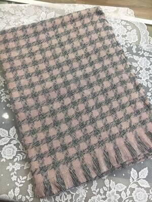 Sciarpa Piede de poule rosa e grigio