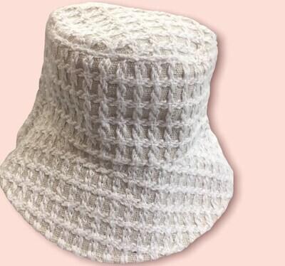 Cappello Bucket doubleface mod. Cherie bianco e beige