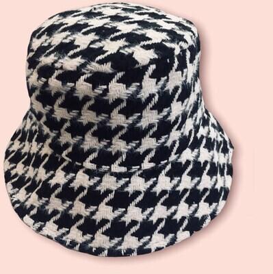 Cappello Bucket  mod. Piede de poule bianco e nero