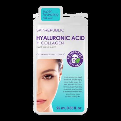 skinrepublic Hyaluronic Acid + Collagen Gesichts-Tuchmaske 25ml