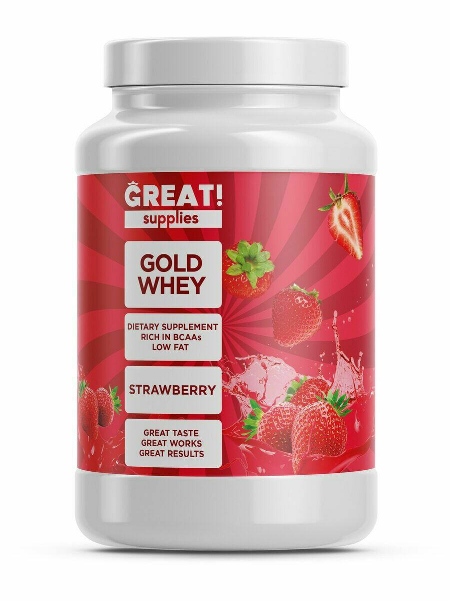 Сывороточный протеин GOLD WHEY вкус клубника от GREAT SUPPLIES, 30 порций купить