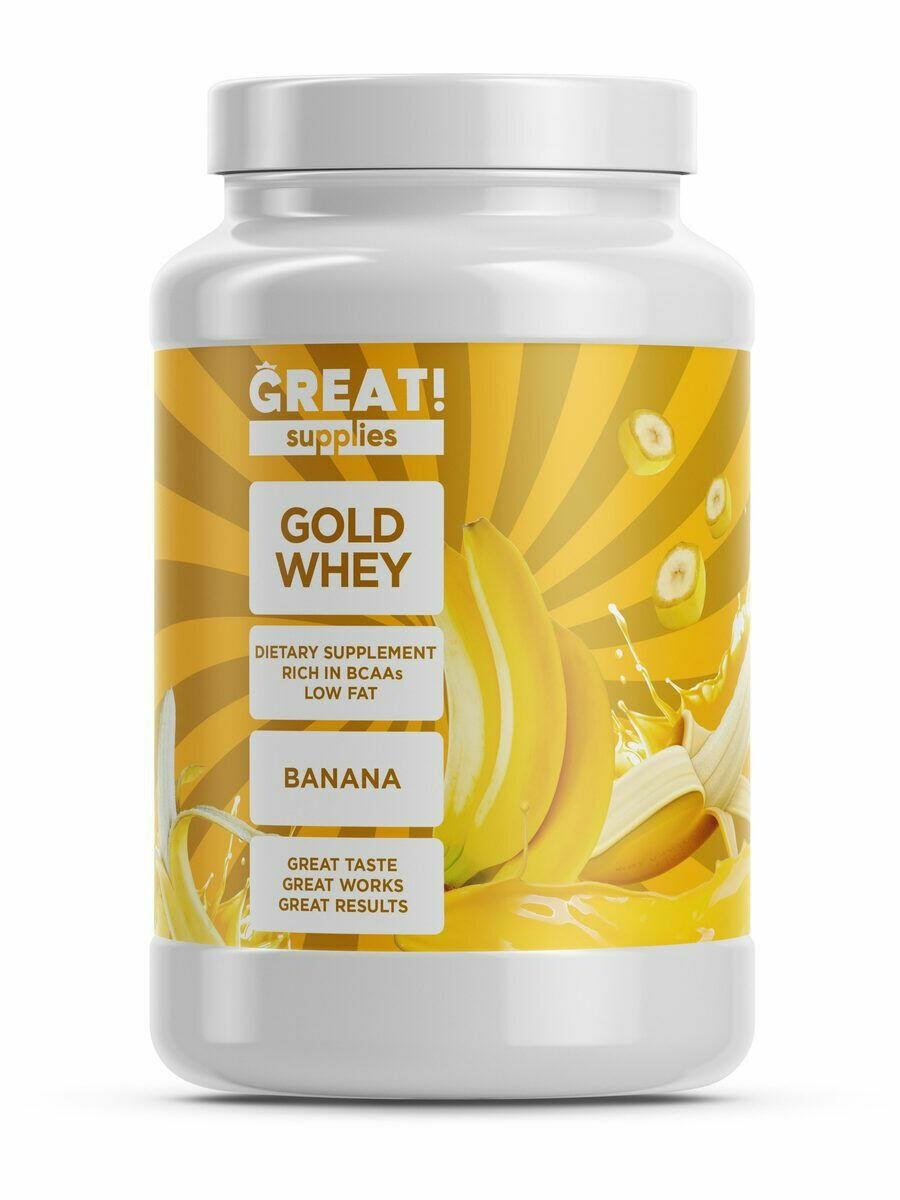 Сывороточный протеин GOLD WHEY вкус банан от GREAT SUPPLIES, 30 порций купить