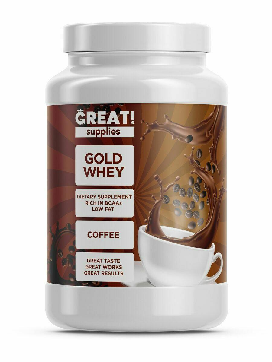 Сывороточный протеин GOLD WHEY вкус кофе от GREAT SUPPLIES, 30 порций купить