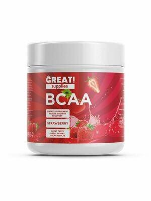 BCAA 200гр вкус Клубника от GREAT SUPPLIES, 40 порций купить аминокислоты
