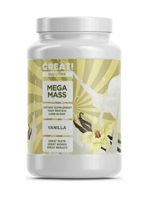 Гейнер Mega Mass вкус Ваниль от Great Supplies 2000гр, 20 порций купить банку